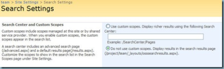 default site collection search settings