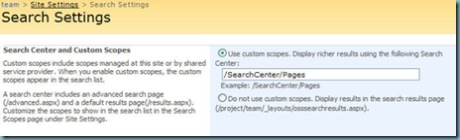 modified site collection search settings